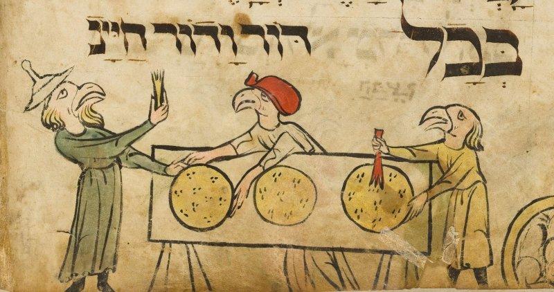 """מתוך """"הגדת ראשי הציפורים"""", גרמניה, המאה ה-13 (לחצו להגדלה)"""