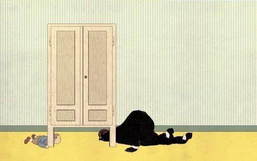 """חושך: """"מתחת לארון/ הלילה מתחבא:/ בבוקר הוא נכנס,/ בערב הוא יוצא."""" מתוך """"מתחת לארון"""" מאת אנדה עמיר פינקרפלד, איירה בתיה קולטון, ל""""שרשרת זהב""""."""