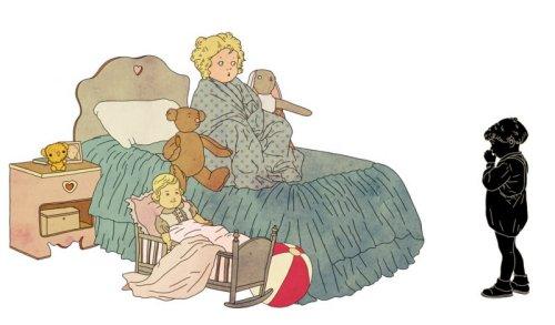 """חושך: """"למה לגרש החושך?/ והרי הוא ילד טוב..."""" מתוך """"עייפה בובה זהבה"""" מאת מרים ילן שטקליס, איירה בתיה קולטון, ל""""שרשרת זהב""""."""
