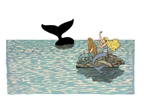 """לוויתן. פיסת החושך האחרונה מתרחקת כשהחבורה מגיעה אל אי האור - """"אולי"""". מתוך """"המסע אל האי אולי"""", איירה, בתיה קולטון."""