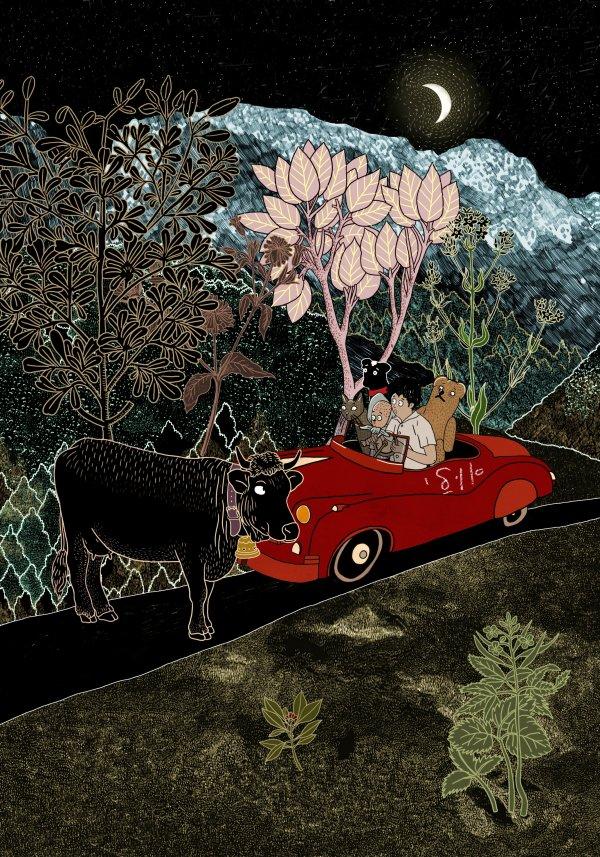 """חושך: איירה בתיה קולטון, מתוך """"המסע אל האי אולי"""" מאת מרים ילן שטקליס"""