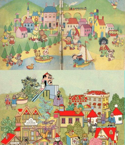 """למעלה, הפורזץ של """"נדי בצרה גדולה"""" מאת אניד בלייטון. למטה, פרט מתוך המחווה של בתיה קולטון לביק (Harmsen van der Beek) המאייר של ספרי נדי."""
