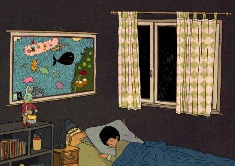 לפני המסע: התמונה התלויה מעל מיטתו של דני היא בעצם מפת המסע אל האי אולי. איירה בתיה קולטון (פרט)
