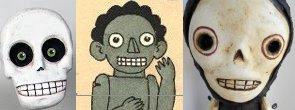 במרכז, הבובה המזופתת של תום, מימין ומשמאל, בובות מחג המתים במקסיקו.