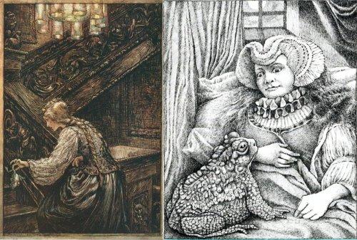 """""""נסיך צפרדע"""" (""""מלך צפרדע או היינריך ברזל"""") משמאל האיור המסורתי של ארתור רקהאם, מימין הפרשנות של מוריס סנדק."""