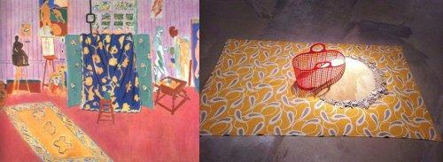"""מאטיס, כיתוב: משמאל, אנרי מאטיס, הסטודיו הוורוד, 1911. מימין, דרורה דומיני """"חול וחול"""". == יש יופי בצורות של """"חול וחול"""", כמעט מאטיס דל חומר ומינימליסטי של עידן השעתוק. (ואולי זאת רק אני שרואה מאטיס בכל מקום, אפילו אצל לוסיאן פרויד==)"""