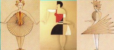 """מימין ומשמאל, שרטוטי תלבושות שיצר אוסקר שלמר (פסל, וראש מחלקת התיאטרון המהוללת של הבאוהאוס) ל""""בלט הטריאדי"""" (1923). במרכז בגד של טליו קרלי הפוטוריסט."""