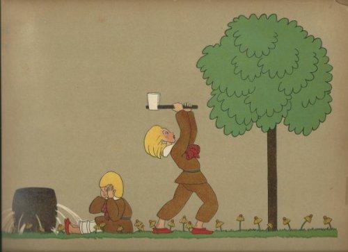 """תום זיידמן פרויד, איור ל""""בת המים"""" מאת האחים גרים. המטלות בסיפור: לשאוב מים בחבית מחוררת, לחטוב עצים בגרזן קהה."""