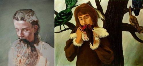 """מימין, רנה מגריט, """"נערה צעירה אוכלת ציפור""""/""""העונג"""" (1927), משמאל, מיכאל בורמנס, """"לאכול את הזקן"""" (2010)"""