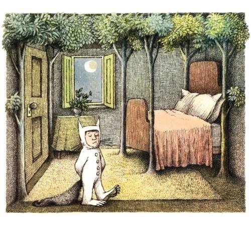 """""""בלילה ההוא התחיל פתאם יער לצמוח בחדר של מקס והוא גדל וגדל עד שהתקרה נעלמה מאחורי שיחים מטפסים וכל הקירות מסביב היו לעולם הגדול שבחוץ."""" מתוך """"ארץ יצורי הפרא"""" כתב ואייר מוריס סנדק."""