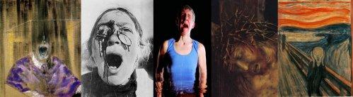 """חמש צעקות מכוננות, משמאל לימין: פרנסיס בייקון """"Head VI"""" 1949, סרגיי אייזנשטיין, פרט מתוך """"אוניית הקרב פוטיומקין"""" 1925, ביל ויולה, פרט מתוך """"כניעה"""" מיצב וידאו 2001, מתיאס גרינוולד, פרט מתוך צליבה, המאה ה-16, אדוורד מונק, """"הצעקה"""", 1893. ליקטתי אותן כשכתבתי על """"שעה עם אוכלי כל"""", מופע המחול שבו (בין השאר) מקפיאים שני גרנות ונבו רומנו את פניהם ל""""מסכת צעקה"""" כשכל שאר הגוף ממשיך לנוע ולפעול. (לחצו להגדלה)"""