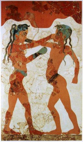 המתאגרפים האלה מן הפרסקו המינואי, צצו שוב ושוב מתוך הדואטים של פרחקיר.
