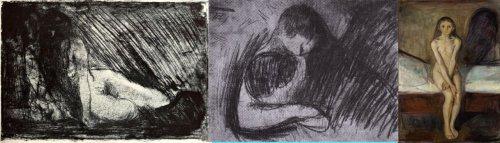 שלוש עבודות של אדוורד מונק (לחצו להגדלה)