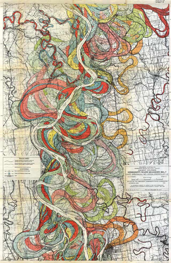 אחת מסדרת מפות שנעשו בשנת 1944 ושמראות את שינויי התוואי של נהר המיסיסיפי במהלך השנים. כבר הבאתי אחת מהן פעם בהקשר אחר אבל אני לא מתאפקת בגלל שאף שהן מופשטות (כמו כל מפה) ושומרות על דיוק מדעי, יש בהן ממד בלתי ניתן להכחשה של פנטסיה. יש עוד פה http://mahberet.net/2012/08/15/mississippi-river/