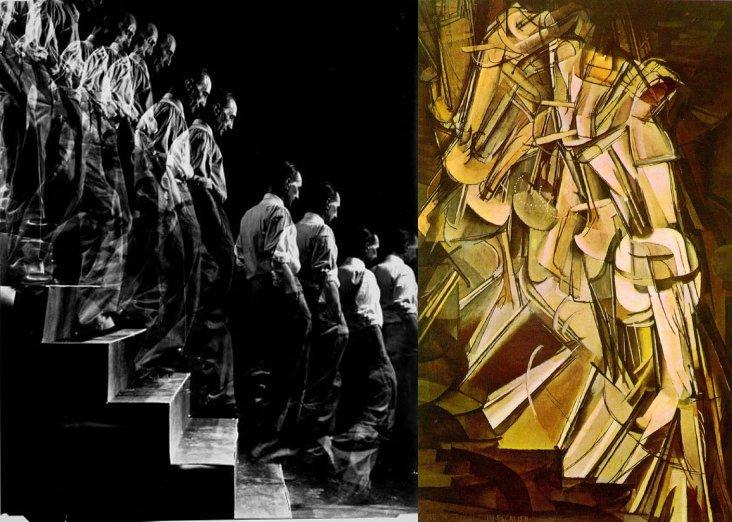 מימין, מרסל דושאן, עירום יורד במדרגות, משמאל, אליוט אליסופון, מרסל דושאן יורד במדרגות.