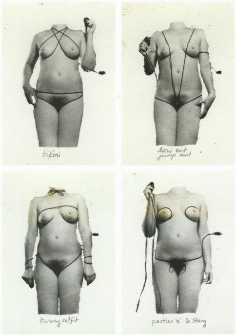 סינדי שרמן, air shutter release fashions, 1975 (פרט) בתמונה הימנית למטה הכבל הופך בין השאר, לשערות ערווה.