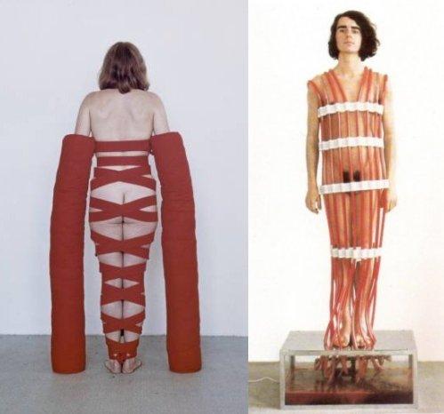 משמאל, רבקה הורן Arm Extensions 1968, מימין רבקה הורן Overflowing Blood Machine 1970 ==