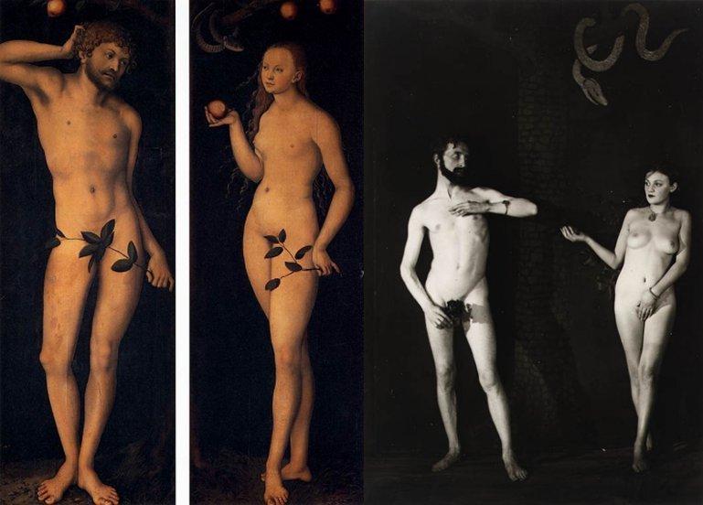 משמאל, אדם וחוה, לוקאס קראנאך (המאה ה-16), מימין, אדם וחוה על פי לוקאס קראנאך, מתוך בלט האוונגרד Relâche (1924). את אדם גילם מרסל דושאן, ואת חוה ברוניה פרלמוטר. צילם מאן ריי.