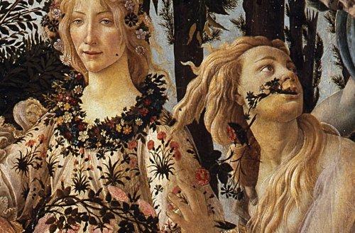 בוטיצ'לי, פרימוורה (1482, פרט. גם בהולדת ונוס אגב יורקים אצלו פרחים).