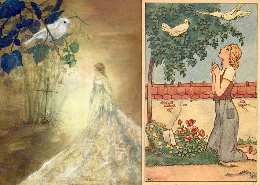לרגלי הקבר והעץ. שני מאיירים, משמאל דניאלה דרשר, מימין, לא ידוע. לחצו להגדלה.