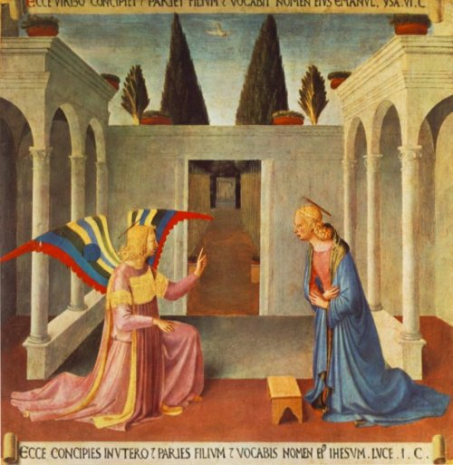 הבשורה למרים, מאת פרה אנג'ליקו. על הציור המופלא הזה כתבתי פוסט נפרד אבל כאן הוא מופיע בזכות היונה הקטנה הלבנה המייצגת את רוח הקודש.