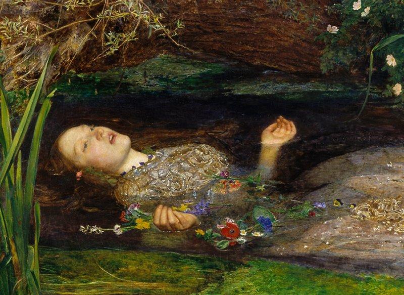אופליה (פרט) John Everett Millais אמצע המאה התשע עשרה.