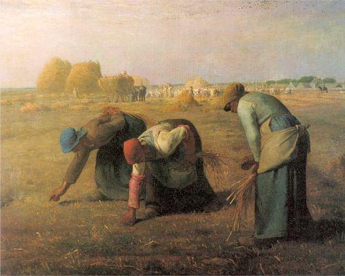 המלקטות, ז'אן פרנסואה מילה, 1857 - נזכרתי בן בגלל תנוחת הרקדניות, העשבים הפזורים והשילוש.