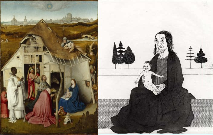 מימין, הקוסמת עם רפונזל התינוקת, אייר דיוויד הוקני. משמאל, הערצת המגים, בעקבות הרונימוס בוש