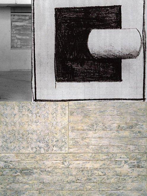 מימין, קזימיר מלביץ', משמאל, אנני ליבוביץ' (פרט), למטה, ג'ספר ג'ונס (זה מחזיר אותי ללבן על לבן של סדרת הצילומים הנפלאה של שרון רז==)