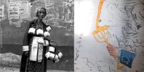 מימין פרט (מסובב), משמאל מוכרת סרטים בגטו ורשה 19 בספטמבר 1941 צילם Heinz Joestעל הצילום הארכיטיפי הזה כתבתי פה==