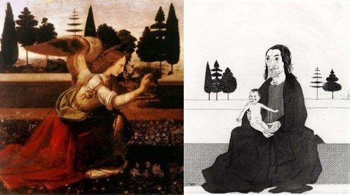 מימין, דיוויד הוקני, משמאל, הבשורה למרים מאת לאונרדו דה וינצ'י (פרט).