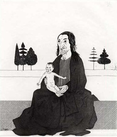 הקוסמת עם רפונזל התינוקת. אייר דיוויד הוקני.