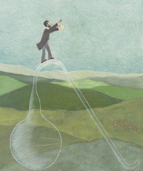 """""""האם החיים נוצרים בחומר דומם?"""" זה הכיתוב מתחת לתמונה. פסטר עולה להרים בחיפוש אחרי אוויר נקי מחיידקים. מתוך """"נער אחד עקשן"""" איירה ענבל לייטנר."""