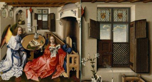 """משמאל, """"הבשורה למרים"""" רוברט קמפיין המאה ה15. מימין, החלון בתקריב."""