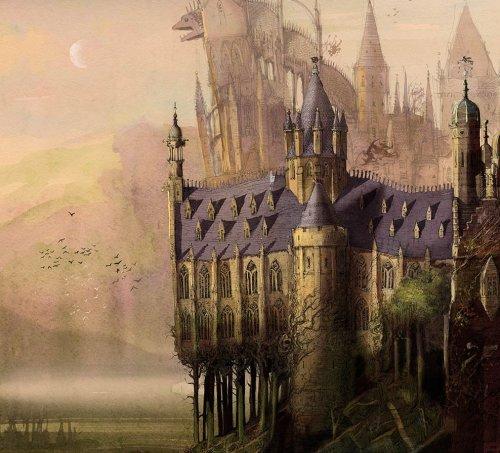 """איור ג'ים קיי, מתוך המהדורה המאוירת להפליא של הארי פוטר ואבן החכמים. בניין הוגוורטס של ג'ים קיי הוא ספק חי, ספק צומח ספק דומם. הנזילות הזאת מאפיינת גם את """"עין אחת, שתי עיניים, שלוש עיניים""""."""