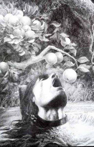 העץ שמרחיק את פירותיו מן האחיות הרעות הוא גרסה קומית של עונשו הנורא של טנטלוס המיתולוגי, ששחט את בנו פלופס ובישל אותו והגיש לשולחנם של האלים. עונשו היה לעמוד רעב וצמא בתוך מים מתחת לעצי פרי. בכל פעם שהוא מתכופף לשתות המים נסוגים, בכל פעם שהוא מושיט יד לפירות הרוח מרחיקה אותם, ובנוסף לכך תלויה מעליו אבן גדולה שמאיימת לרוצץ את גולגלתו. בתמונה טנטלוס, Willi Glasauer 1864