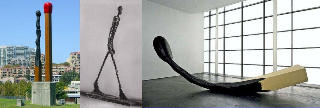 משמאל קלאס אולדנבורג וקוז'ה ון ברוחן, 1991. מימין, קלאס אולדנבורג 1987. באמצע אלברטו ג'אקומטי.