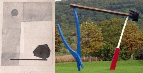 מימין, קלאס אולדנבורג וקוז'ה ון ברוחן 1984 Balancing Toolsמשמאל פול קליי, מאוזן באופן נועז שנה==.