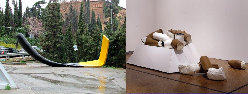 משמאל, גפרור נייר שרוף מתוך עבודה של קלאס אולדנבורג וקוז'ה ון ברוחן בברצלונה. מימין, בדלי סיגריות רכים שפיסל אולדנבורג עוד ב1967