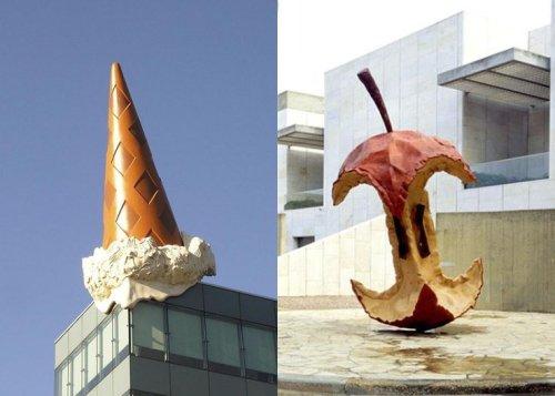 קלאס אולדנבורג וקוז'ה ון ברוחן, משמאל, גביע גלידה הפוך, מימין, תפוח מכורסם