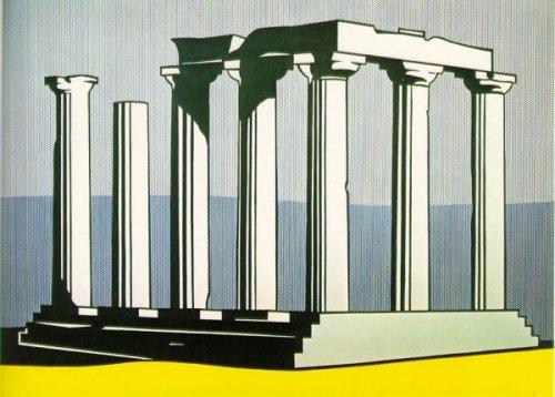 רוי ליכשטנטיין, מקדש אפולו, 1964. המקדש של ליכשטנטיין מספח את העבר להווה מבלי להפנות את הראש.