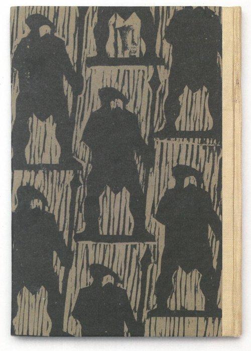 """כריכת """"מיכאל קולהאס"""", אייר יעקב פינס הוצאת תרשיש 1953. המתח בין הקומפוזיציה הסדורה לכתב היד האקספרסיוניסטי של המפסלת מתקיים ברבים מן האיורים."""