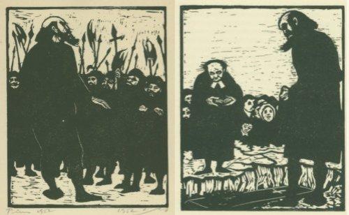 """מימין, מיכאל קולהאס מול קבר אישתו, מתנשא מעל לכומר ולאבלים האחרים. משמאל, מיכאל קולהאס מול אנשיו הקטנים. אייר, יעקב פינס, מתוך """"מיכאל קולהאס"""", הוצאת תרשיש 1953."""
