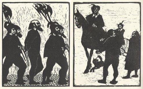 """משמאל, קולהאס כמעט בגובה שוביו (אחרי שהוא מועד וחובר לאיש שהוא מבזה), ומימין, קולהאס הקטן (הדמות הקירחת מימין) מול היונקר שעשה לו עוול. אייר, יעקב פינס, מתוך """"מיכאל קולהאס"""", הוצאת תרשיש 1953."""