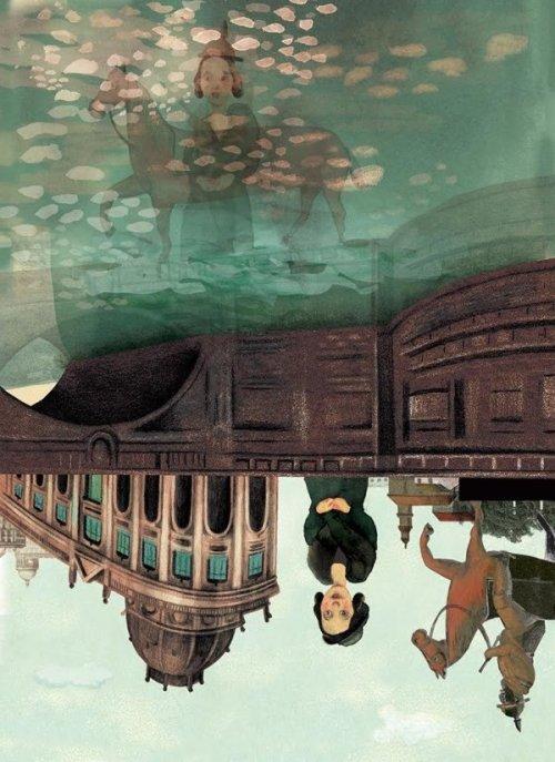 """איירה נטלי וקסמן שנקר, מתוך """"דודה לאה"""" מאת שומיש (איור הפוך)."""