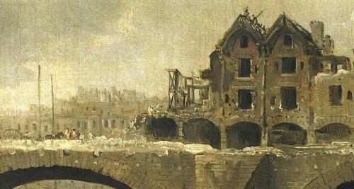 רוברט יוברט, הריסת בניינים על גשר נוטר דאם, סביבות 1786 (פרט) החנות של ז'רסאן שכנה בקומת הקרקע מתחת לאחת הקשתות.