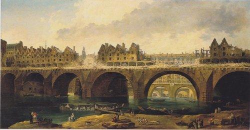 רוברט יוברט, הריסת בניינים על גשר נוטר דאם, סביבות 1786