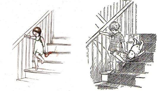 מימין, כריסטופר רובין ופו, איור של ארנסט שפארד לפו הדוב של א. א. מילן. משמאל המחווה של אפרת לוי, מתוך