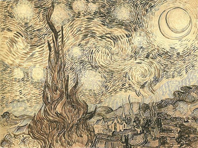 ואן גוך, ליל כוכבים, דיו על נייר (רישום הכנה?) 1888
