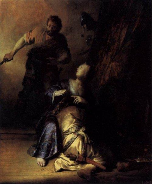 רמברנדט, דלילה מספרת את מחלפותיו של שמשון, 1629